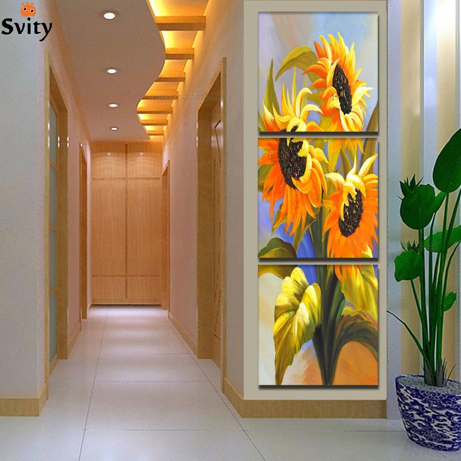 3 panely moderní tištěné slunečnice olejomalba obrázek Cuadros plátno umění nástěnné malby květiny pro obývací pokoj bez rámu