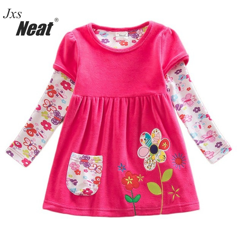 retail baby girl clothes long sleeve girls dress flowers kids clothing princess dresses A-line children clothing LD6660# кулон beatrici lux 8 марта женщинам