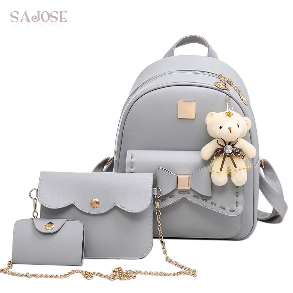 Fashion Backpack Women Pu Leather Back Pack Famous Brand School Bags For Girls Sac A Dos Femme With Purse and Bear SAJOSE famous brand backpack women backpacks solid fashion school bags for girls black pu leather backpack mochilas mujer 2016sac a dos