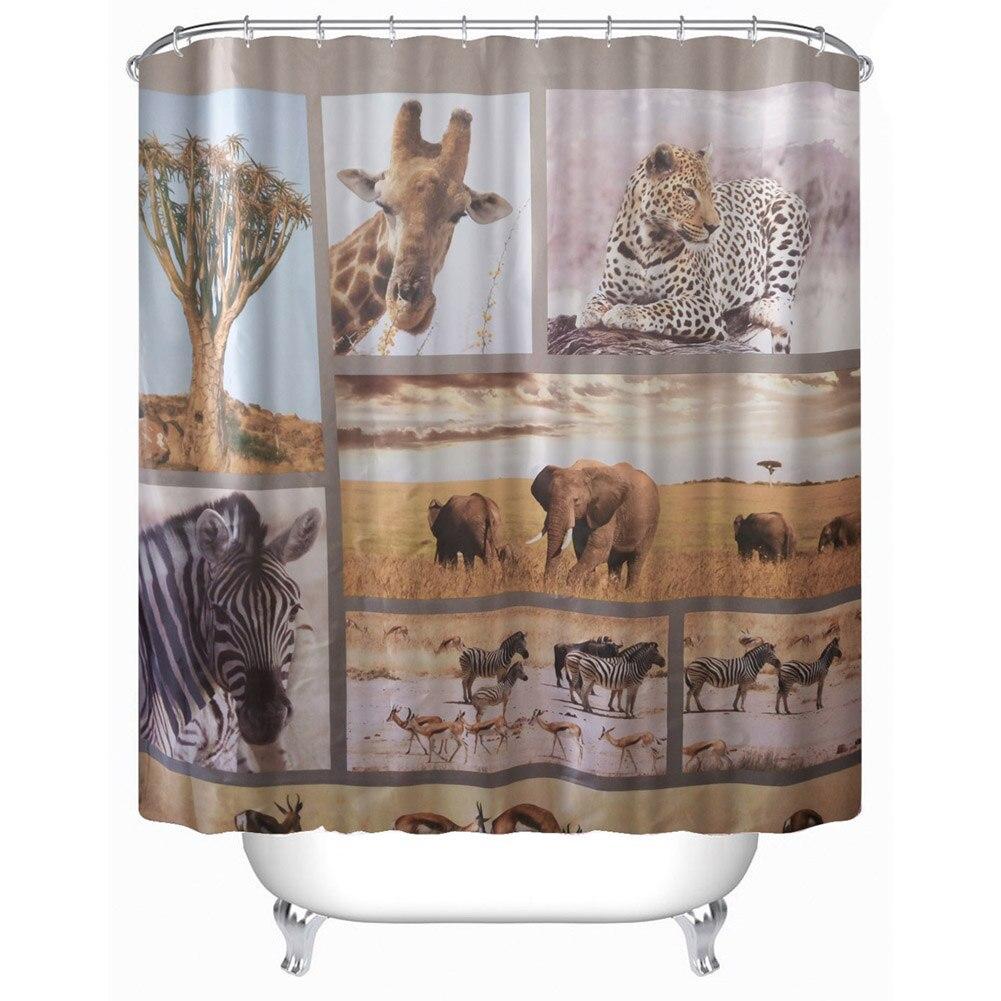 3D Waterproof Polyester Shower Curtain Wildlife World/Giraffe/Buddha Bathroom Waterproof Fabric Curtain 180*180cm