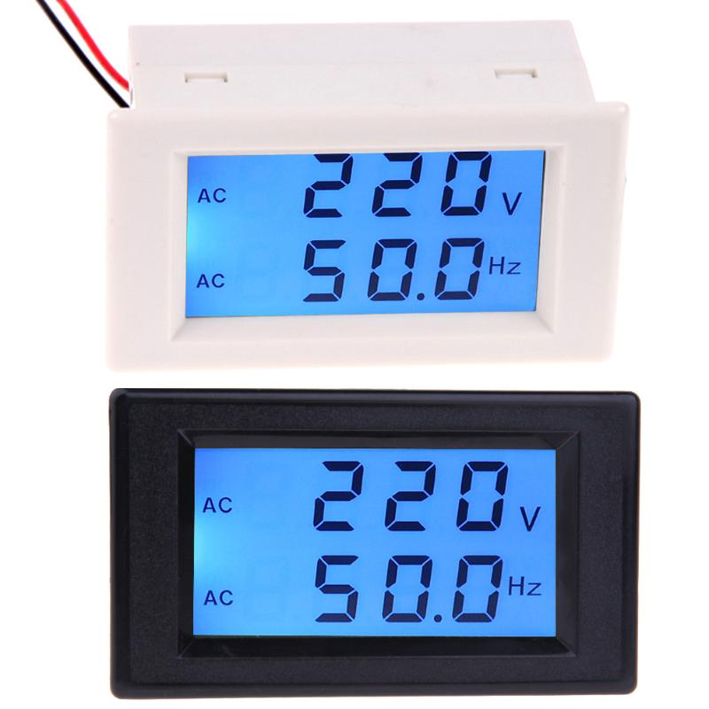 LCD Digital Dual Display Voltage Frequency Meter Tester AC 80-300V Voltmeter 45.0-65.0Hz Frequency Meter With Blue Backlight