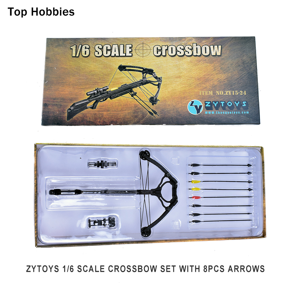 все цены на ZYTOYS 15-24 1/6 Scale Crossbow set With 8PCS Arrows Weapon Model For Daryl Walking Dead Custume Fit 12