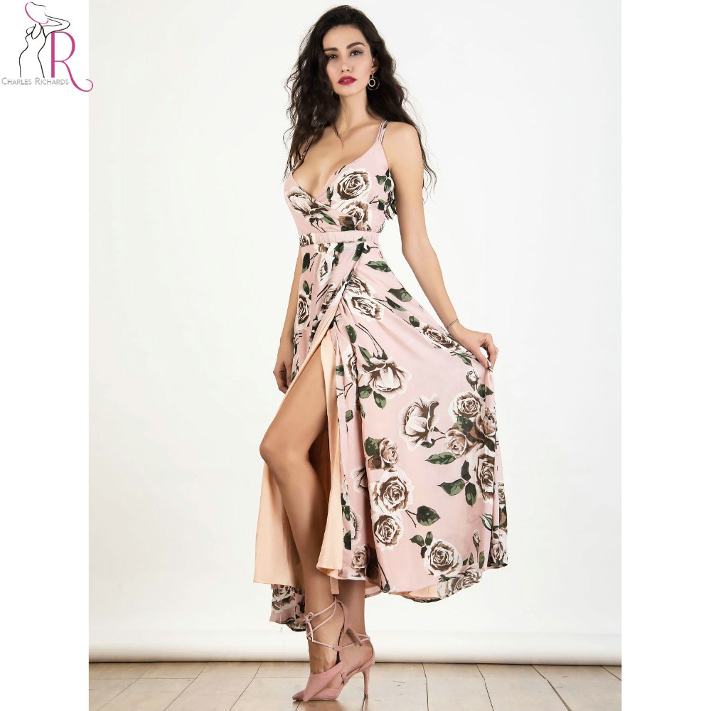 47a7a051daf209 Strappy backless chiffon maxi dress rosa sexy v ausschnitt rosendruck Split  Sommer Lange A linie Kleider 2017 Neue Mode Strand Kleidung in Strappy  backless ...