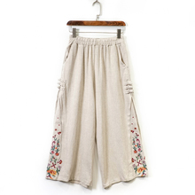 2019 Summer Women Wide Leg Pants Vintage Cotton Linen Elastic Waist Casual Floral Embroidery