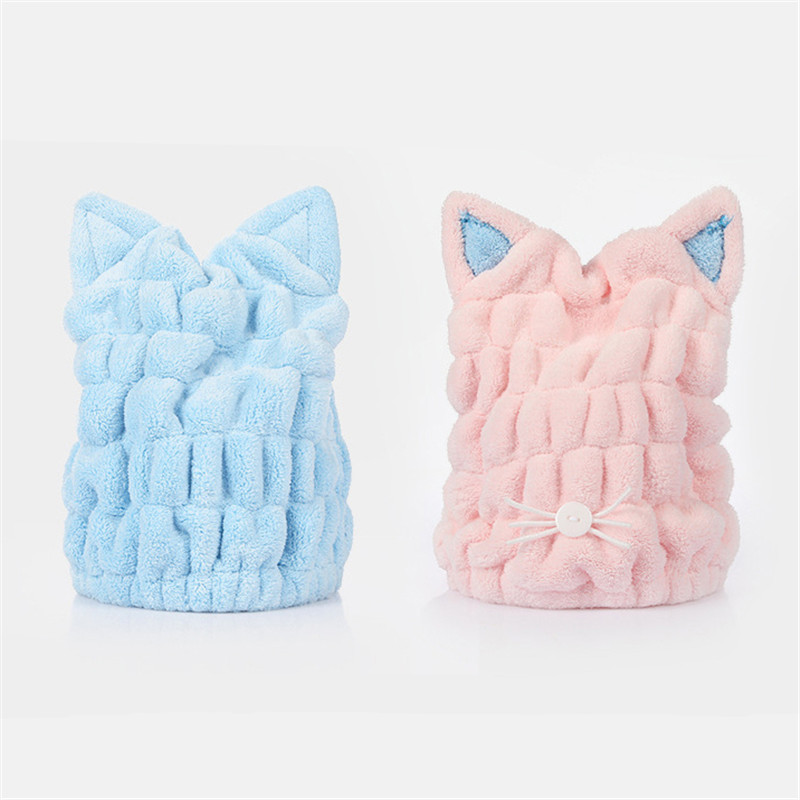 Lovely Cat Soft Bath Towel Cap With Strong Absorbing for Home Use or Travel 3