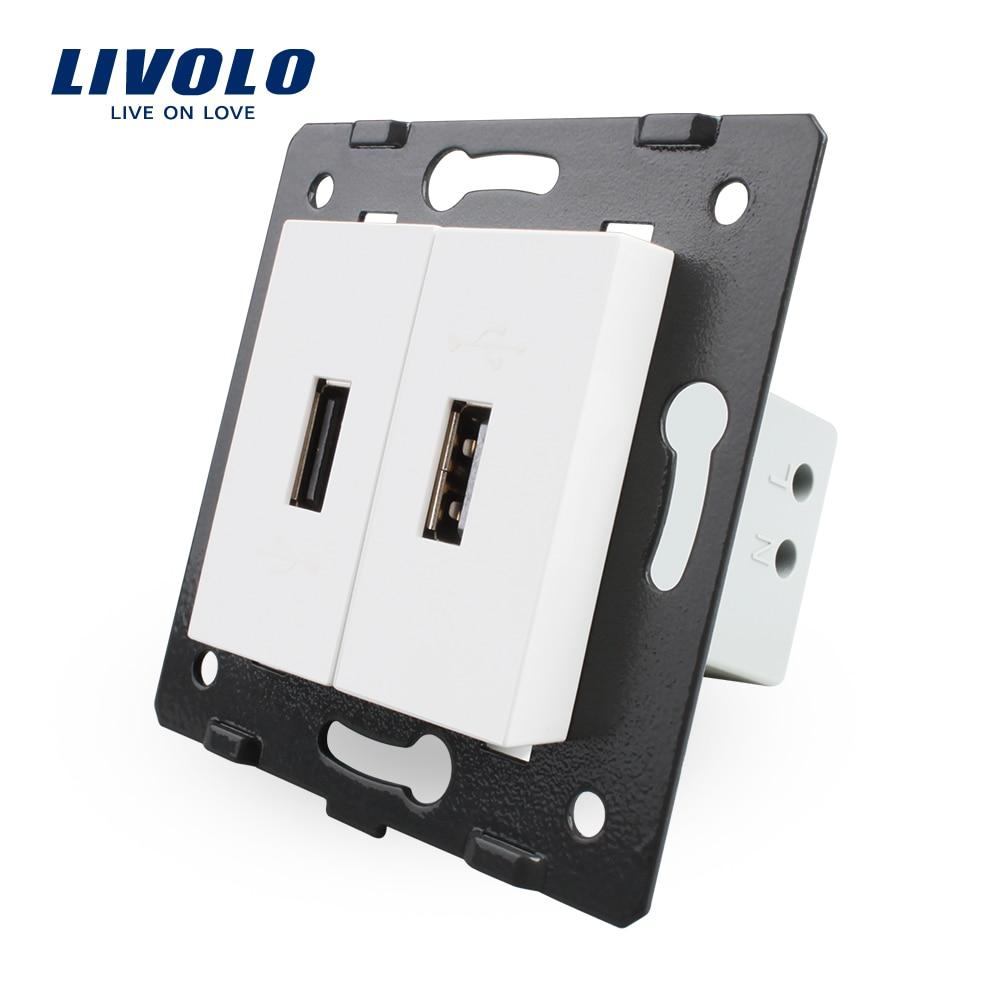 Livolo EU estándar DIY piezas plástico materiales función clave, Color blanco, 2 tomas para conector USB, VL-C7-2USB-11 (4 colores)
