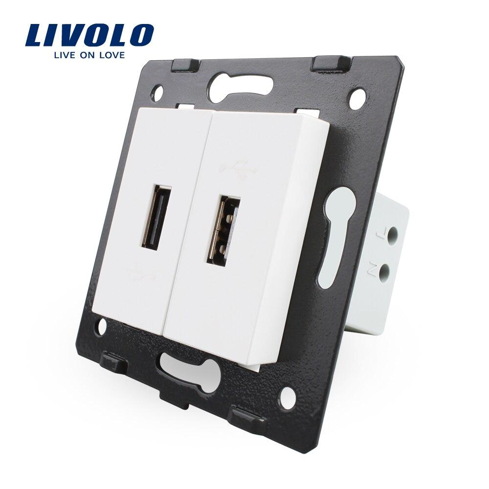 Livolo Padrão DA UE Peças DIY Materiais Plásticos Tecla de Função, Cor Branca, 2 Gang Para A Tomada USB, VL-C7-2USB-11 (4 Cores)