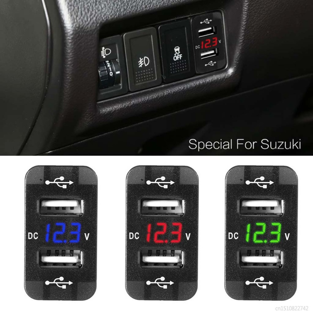 Voltmeter Usb-Car-Charger Power-Adapter 2 for Suzuki Toyota/40x20mm/10166 12V LED Dual