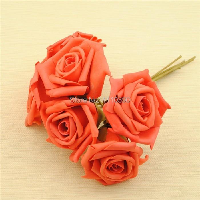 Nº7 cm ramos de flores artificiales, flores de espuma PE rosas, real ...