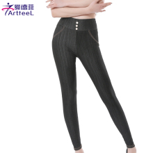 Women Stretch Denim Jean Skinny Leggings Slim Button Pants Apparel Faux Denim Causal Pencil Pants New Size L XXL 5XL