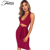Sexy low cut halter lace up bow wissen sommer bodycon dress frauen sleeveless prom party night club midi dress robe