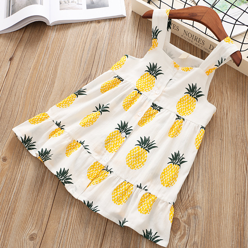 2018 Summer New Girl Dress Pineapple Kids Dress Sleeveless Children Sundress Ruffles Button Vintage Girl's Dress Kids Clothes