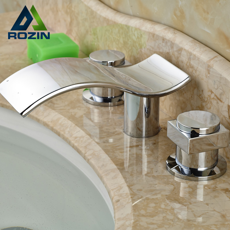 Фотография Deck Mounted Waterfall Bathroom Faucet with Hot and Cold Water Mixer Taps Chrome Finish Dual Handles