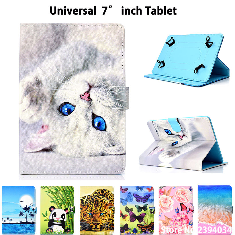 Universal Case For 7.0 Tablet Cover for Samsung Tab A T280 Huawei T3 7.0 Lenovo PU Leather Cute Cartoon Cat Stand Funda Shell universal case for 7 9 8 0 9 7 10 10 1 10 5 inch tablet cover for ipad pro air 2018 samsung huawei pu leather stand funda shell