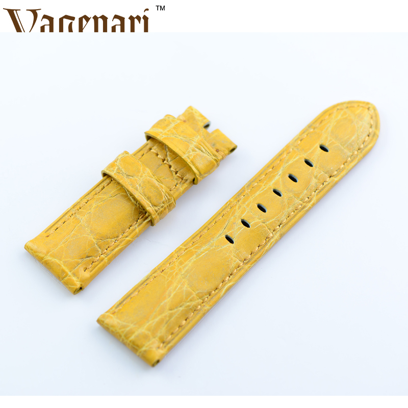 A161 Vintage Yellow Alligator Genuine Leather Watch Strap 24/22mm Watchband with Buckle  d 32 fashion purple red fish skin leather watch strap 24 22mm watchband with buckle