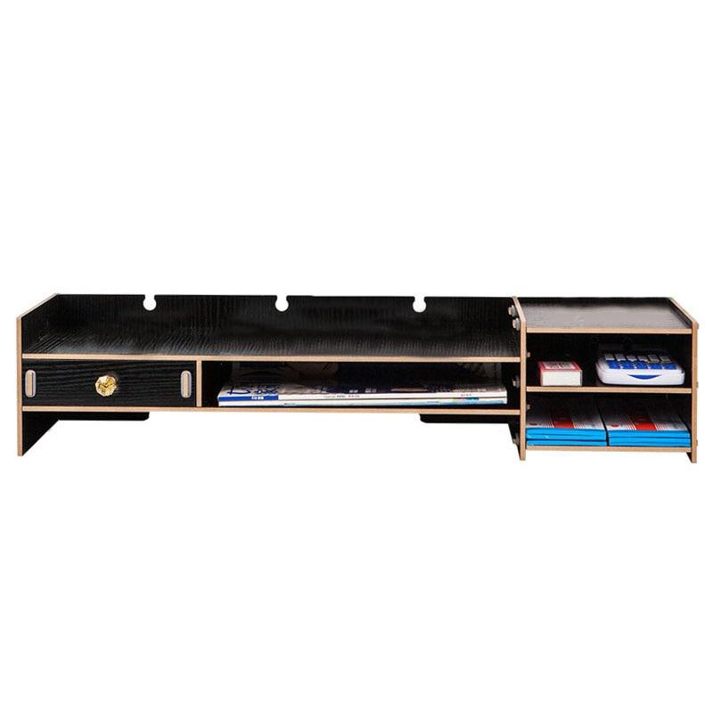 Decorative Wooden Storage Boxes Desktop Organizer Monitor Stand Over Keyboard Organizer Large Capacity Storage Box Case