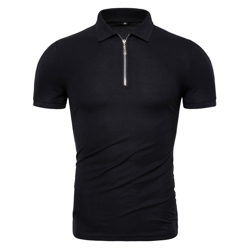 Dropshipping 2019 New Summer Cotton Men Polos Solid Slim Fit Zipper Patchwork Polo Shirt Men Fashion Business Casual Polos Men