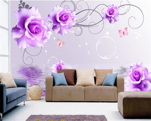 beibehang papel de parede 3D High quality fantastic waterproof wallpaper purple rose fashion romantic floral TV background wall