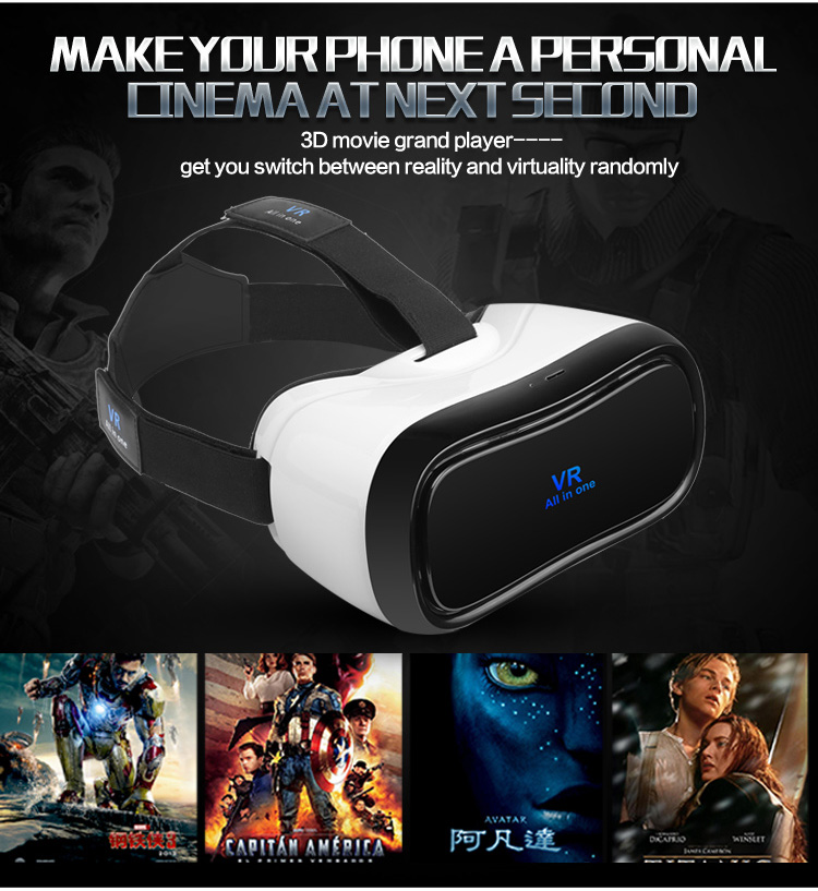 VR All in one Virtual Reality Glasses Headset 1920*1080P 5.0 Inch WiFi Bluetooth USB TF Immersive 3D Video Game Movie Headset - 3