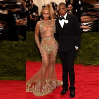 2015 New Arrival Sexy Sheer Beyonce Jay Z Met Gala Red Carpet Dress Color Beading Luxury
