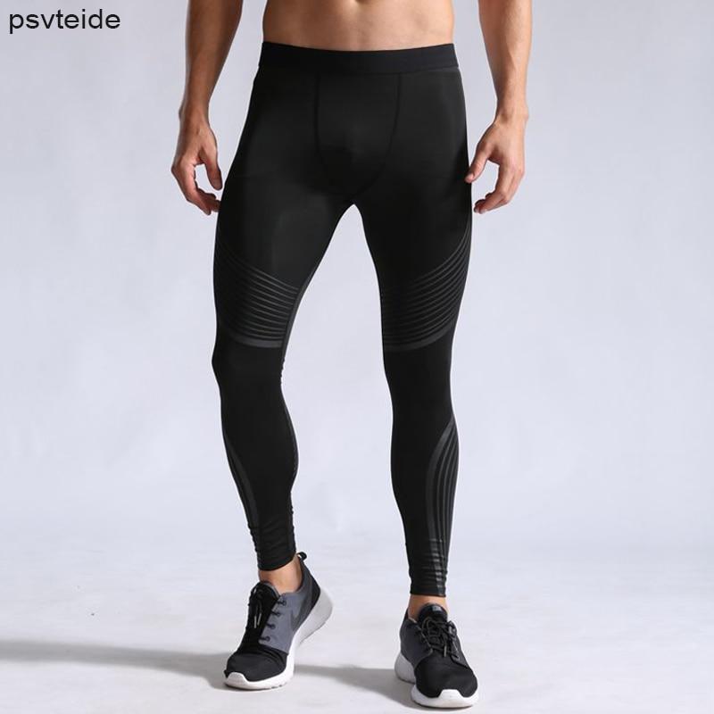 Mens Leggings Pants Compression-Pants Fitness Man Striped