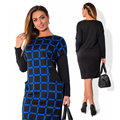 Elegant Plus Size Autumn Winter Dress 2017 new women O-neck patchwork  pocket dress party dress L-6XL Women Clothing