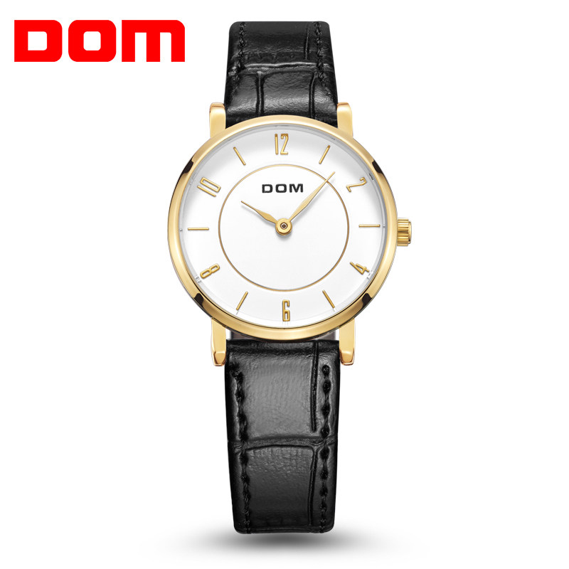 DOM Woman's Watch Fashion Luxury Ladies Quartz Wristwatch Top Brand Leather Strap Watch Women Watches Waterproof Reloj  G-31