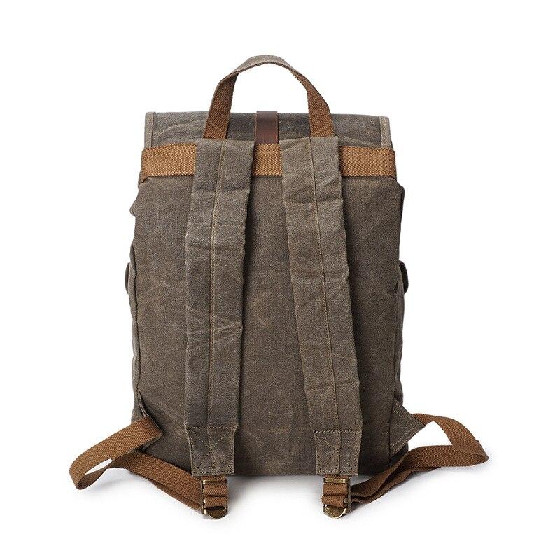 Image 4 - Retro Backpack Men Waterproof Oil Wax Canvas Drawstring School  Rucksack Shoulder Vintage Travel Bagpack College Laptop Bag  BeltsBackpacks