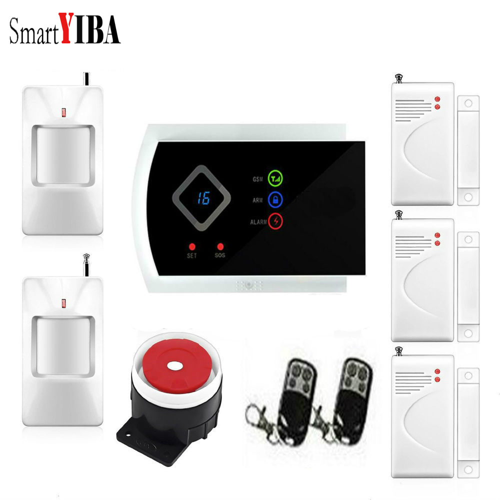 SmartYIBA SMS GSM Wireless Home Alarm System Android IOS APP Remote Control Sensor Detector Russian Spanish French Voice smartyiba wireless gsm wifi home security burglar alarm system kit android ios app remote control french polish russian spanish