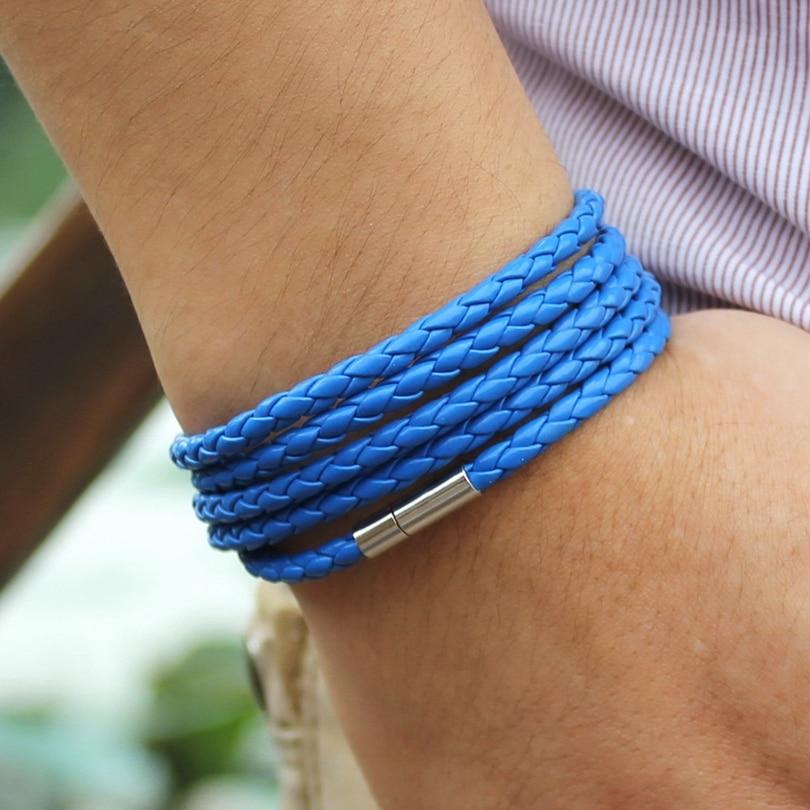 XQNI brand black retro Wrap Long leather bracelet men bangles fashion sproty Chain link male charm bracelet with 5 laps