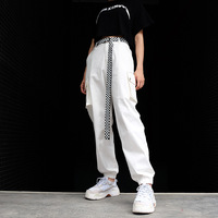 Casual White Cargo Pants With Zipper Pockets Elastic High Waist Trousers Women Streetwear Straight Loose Sweatpants