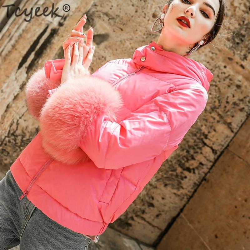 Femmes Lwl1199 Mince Blanc Red Le De Peach Outwear Hiver Court Renard Manteau À Tcyeek Fourrure Veste Longues Parkas Bas Mode Vers Canard Duvet Femme Manches SA0wYWBRqn