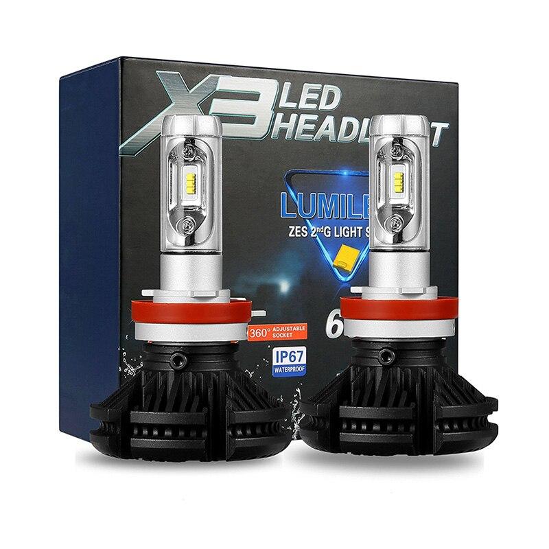2 шт. H4 LED H7 Автомобильный свет H1 H3 H11 9005 Hb3 9006 Hb4 светодиодные лампы фары 12 В 24 в 50 Вт 6000LM 6500 к IP67 ZES налобный фонарь комплект авто лампа