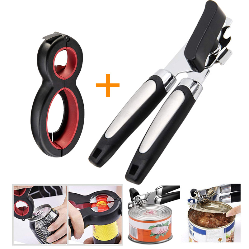 2PC/Set Cans Opener Professional Ergonomic Manual Can Opener Side Cut Manual Can Opener High Quality Stainless Steel