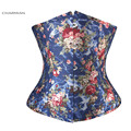 Charmian Women's Retro Sexy Underbust Corset Floral Denim Corsets and Bustiers Waist Trainer Cincher Body Shaper Shapewear