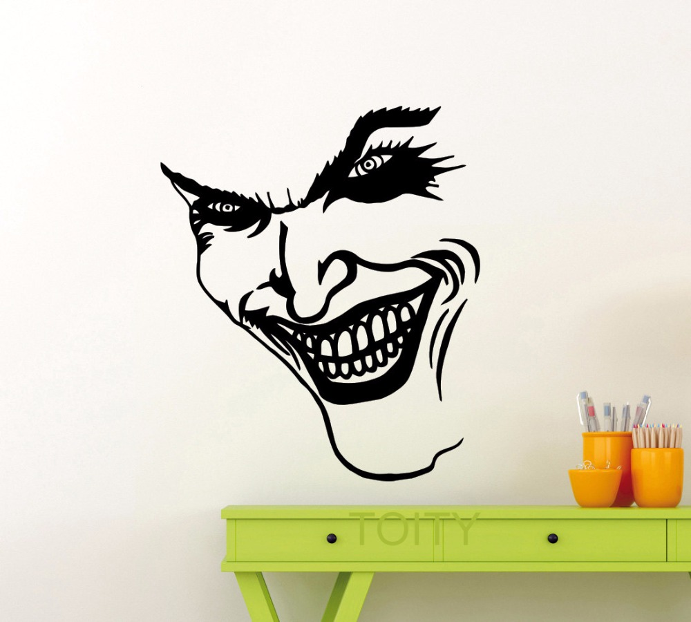 popular joker wall mural buy cheap joker wall mural lots from joker smile wall sticker dc marvel comics superhero vinyl decal home interior decoration pop art mural