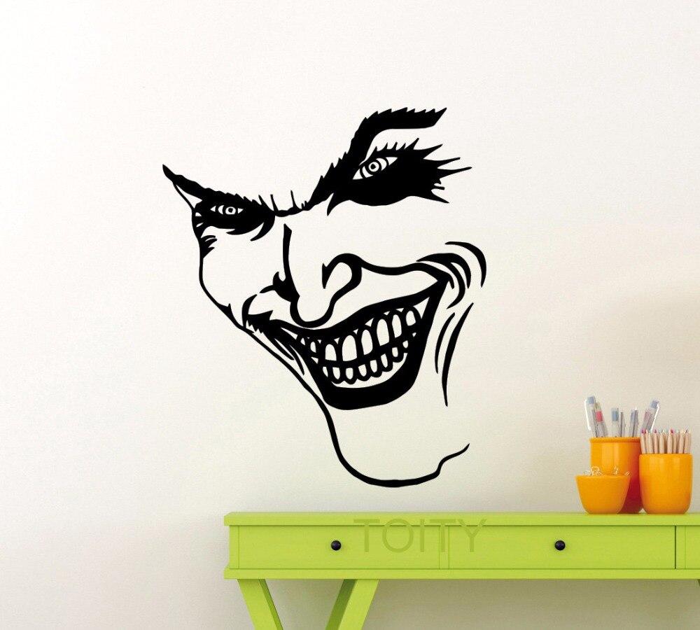Bike stickers design joker - Joker Smile Wall Sticker Dc Marvel Comics Superhero Vinyl Decal Home Interior Decoration Pop Art Mural