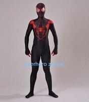 Newest Red Eyes Movie Ultimate Miles Morales Spider Man Costume 3D Printing Red And Black Fullbody