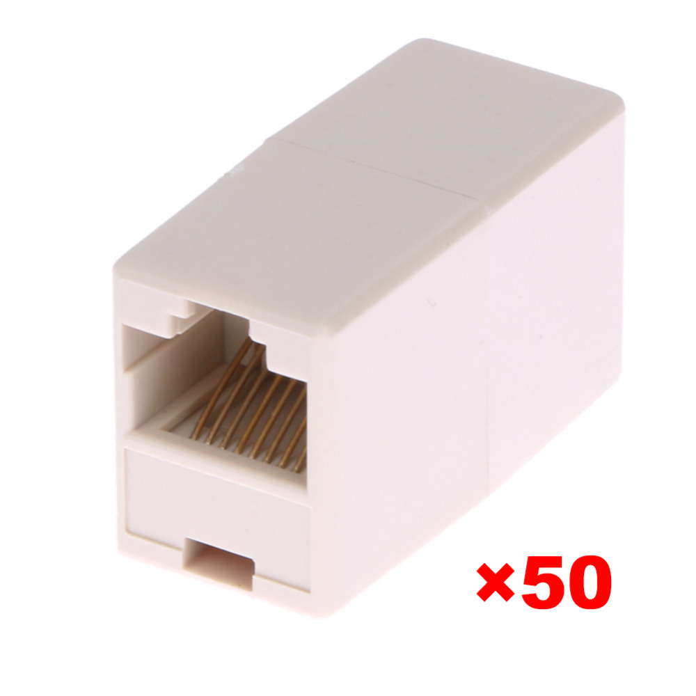 50pcs / lot Universal RJ45 Cat5 8P8C Socket Connector For Extension Bredbånd Ethernet Network LAN Kabel Joiner Extender