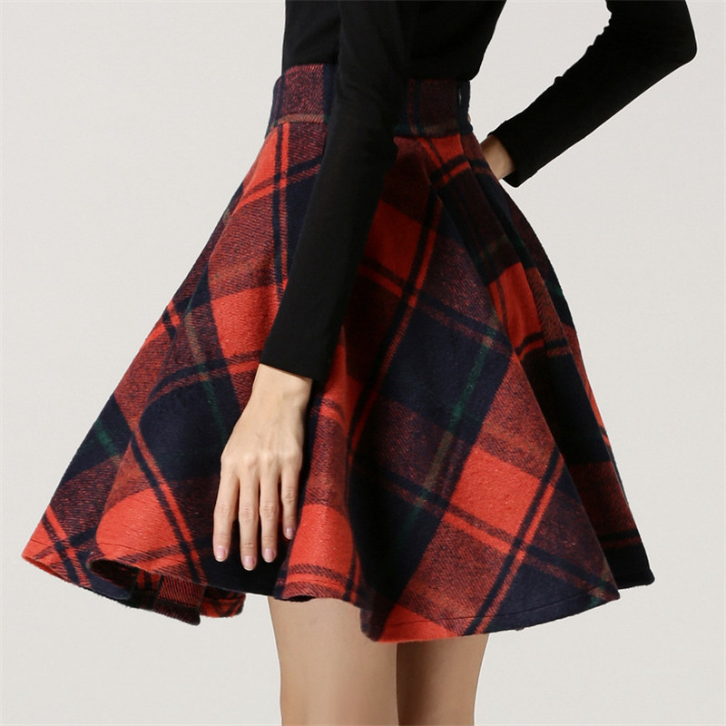 Popular Women's Pleated Plaid Skirt-Buy Cheap Women's ...