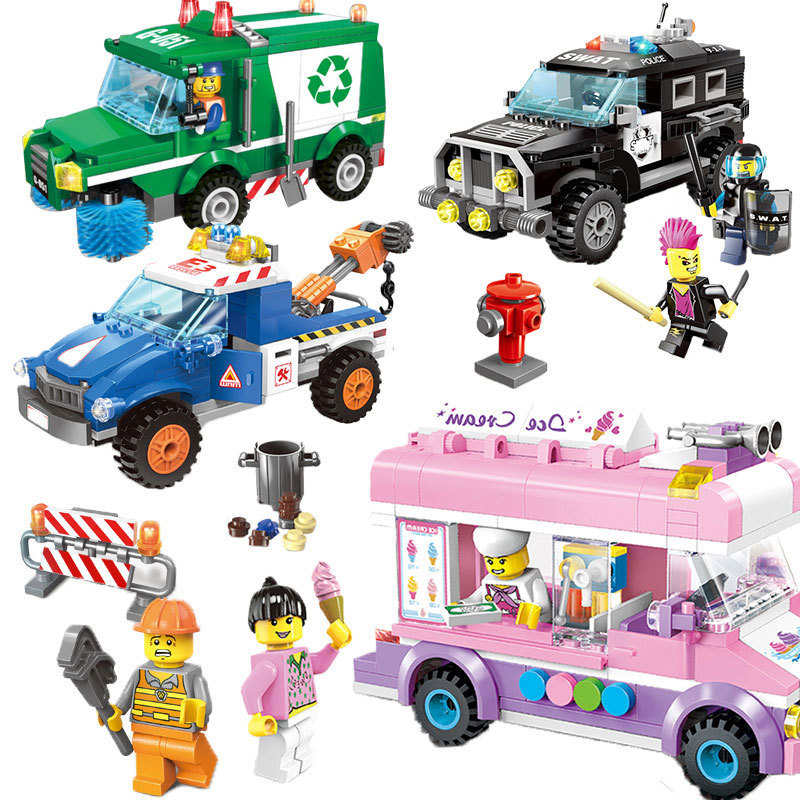 ENLIGHTEN City Wrecker Police Sanitation Ice Cream Car Truck Building Blocks Sets Bricks Model Kids Toys Compatible With Legoed 608pcs race truck car 2 in 1 transformable model building block sets decool 3360 diy toys compatible with 42041