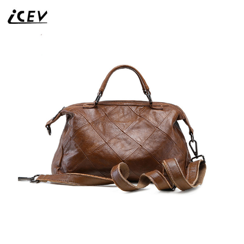 ICEV Hot Sale Simple Plaid Genuine Leather Handbags Women Famous Brands Designer High Quality Top Handle Women Leather Handbags icev new brands simple classic female cow leather designer handbags high quality genuine leather handbags women leather handbags