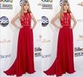 2017 Celebrity Dresses A-line Cuello Alto de Encaje de Gasa Piso-Longitud Vestidos de Noche Largos Vestidos de la Alfombra Roja