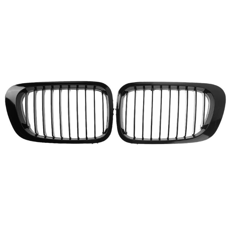 1 Pair Car Front Sport Hood Kidney Grille Grilles Racing Grills for BMW E46 Two Doors 1999 2002 Gloss Black Auto Accessories