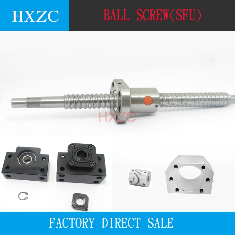 SFU1605 set:SFU1605 rolled ball screw C7 with end machined + 1605 ball nut + nut housing+BK/BF12 end support + coupler RM1605 free shipping sfu1605 1300mm rolled ball screw c7 grade with 1605 flange single ball nut for bk bf12 end machined cnc parts