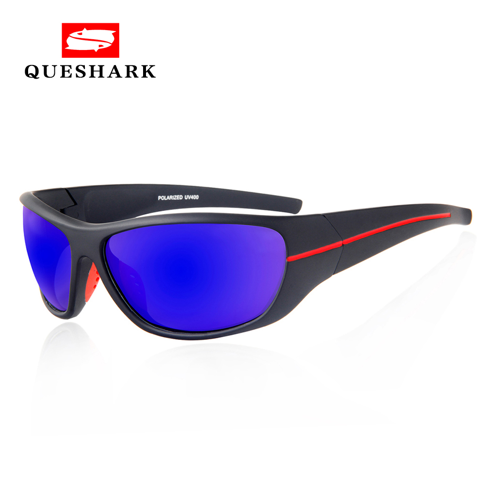 цена на QUESHARK Polarized Fishing Sunglasses Sports Cycling sunglasses TR90 UV Protection Hiking Camping Goggles Fishing Eyewear