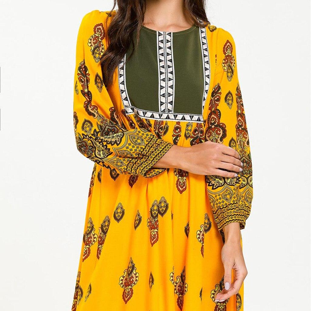 Fashion Muslim Print Abaya Full Dresses Womens Lady Printed Dress Islamic Abaya Jilbab Cocktail Long Dresses Long Arab clothing