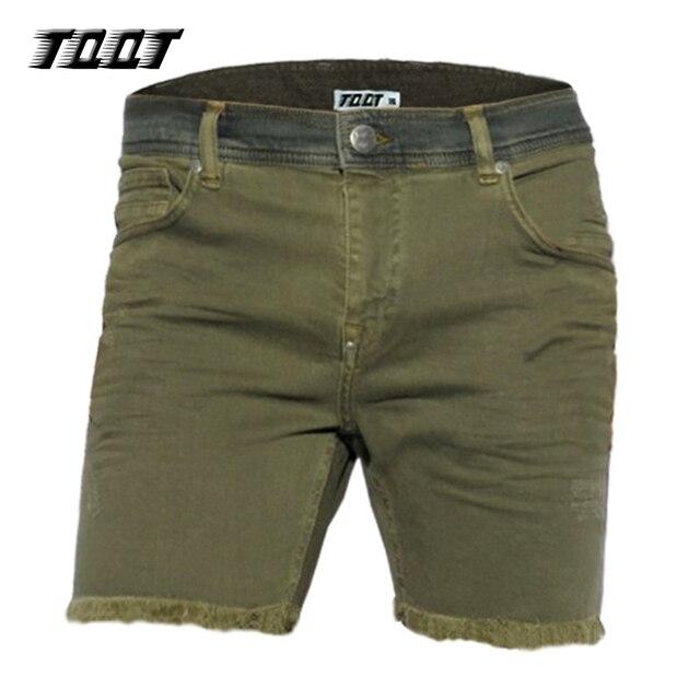 TQQT мужчины шорты midweight джинсы прямые низкой талией средней длины плиссированные шорты контраст талии холодной dye жан короткие 5P0608
