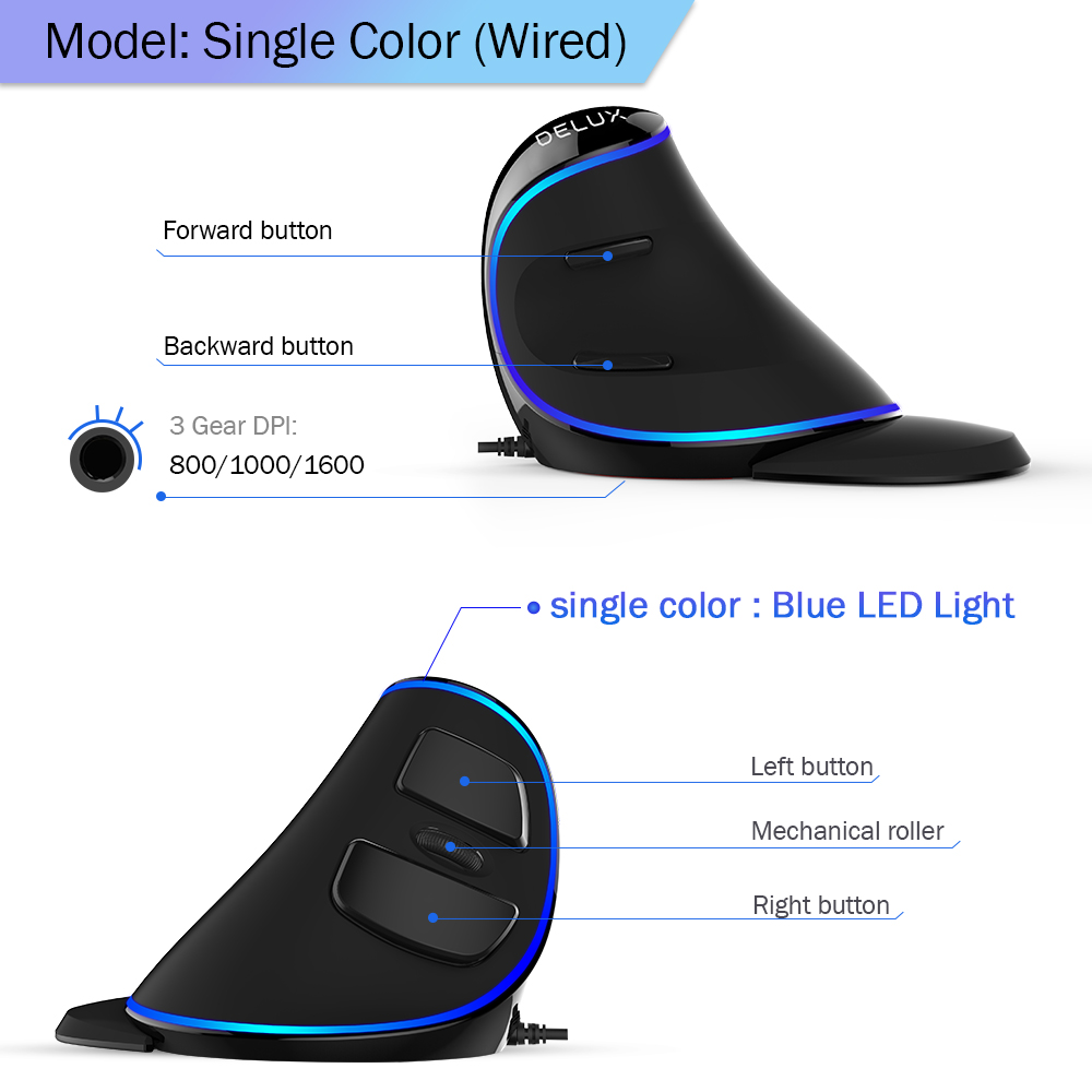 Ergonomics Vertical Gaming Mouse 6 Buttons 4000 DPI RGB Wired/Wireless Right Hand Mice For PC Laptop Computer 4