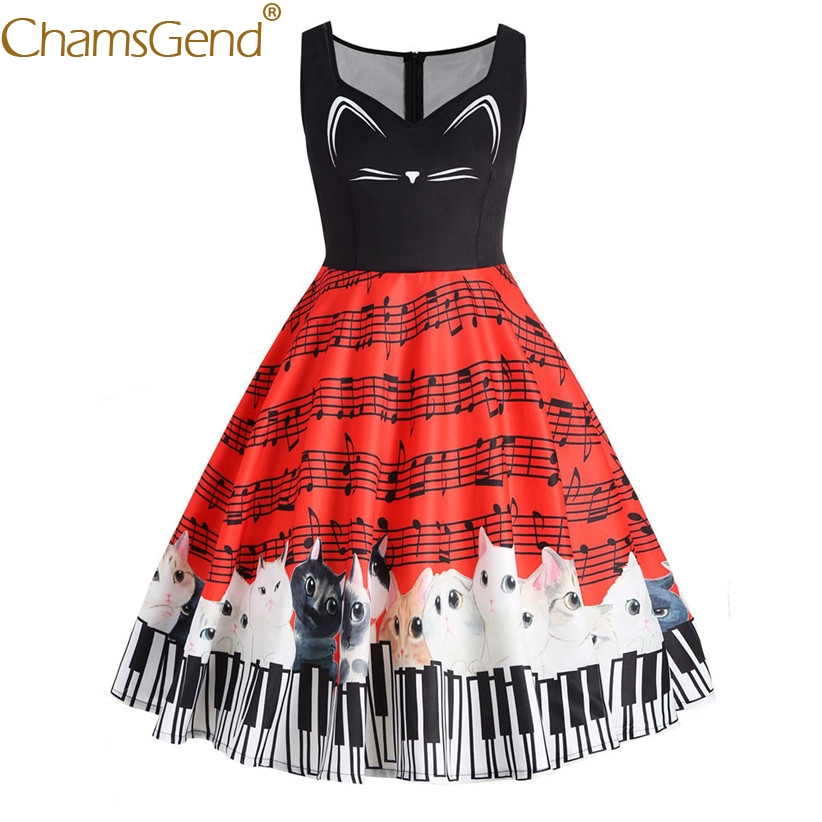 Chamsgend Women Dress Female Lady Cute Cat Melody Print Sleeveless Party Dress Plus Size 80201